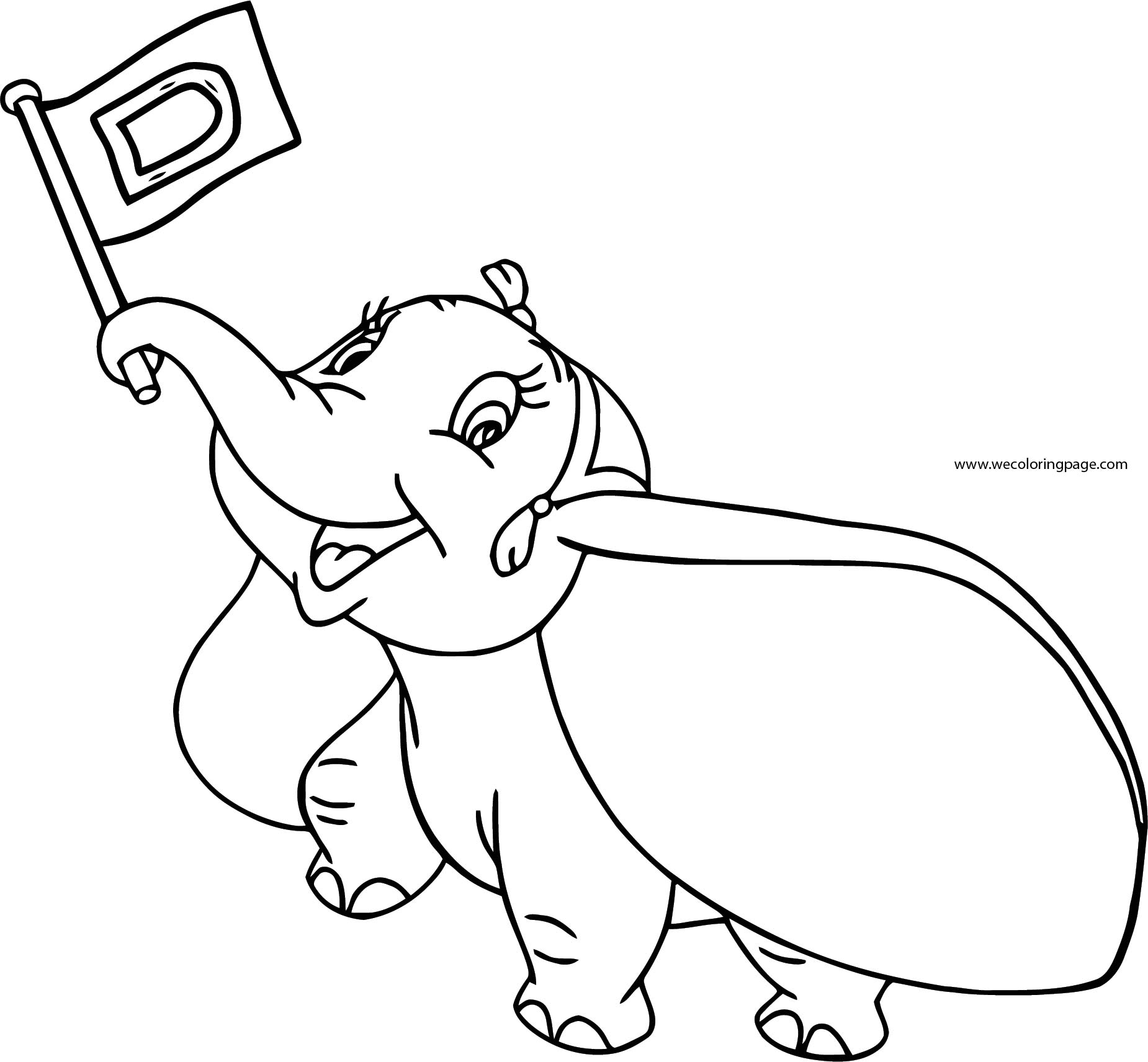 Dumbo Flag Up Coloring Pages