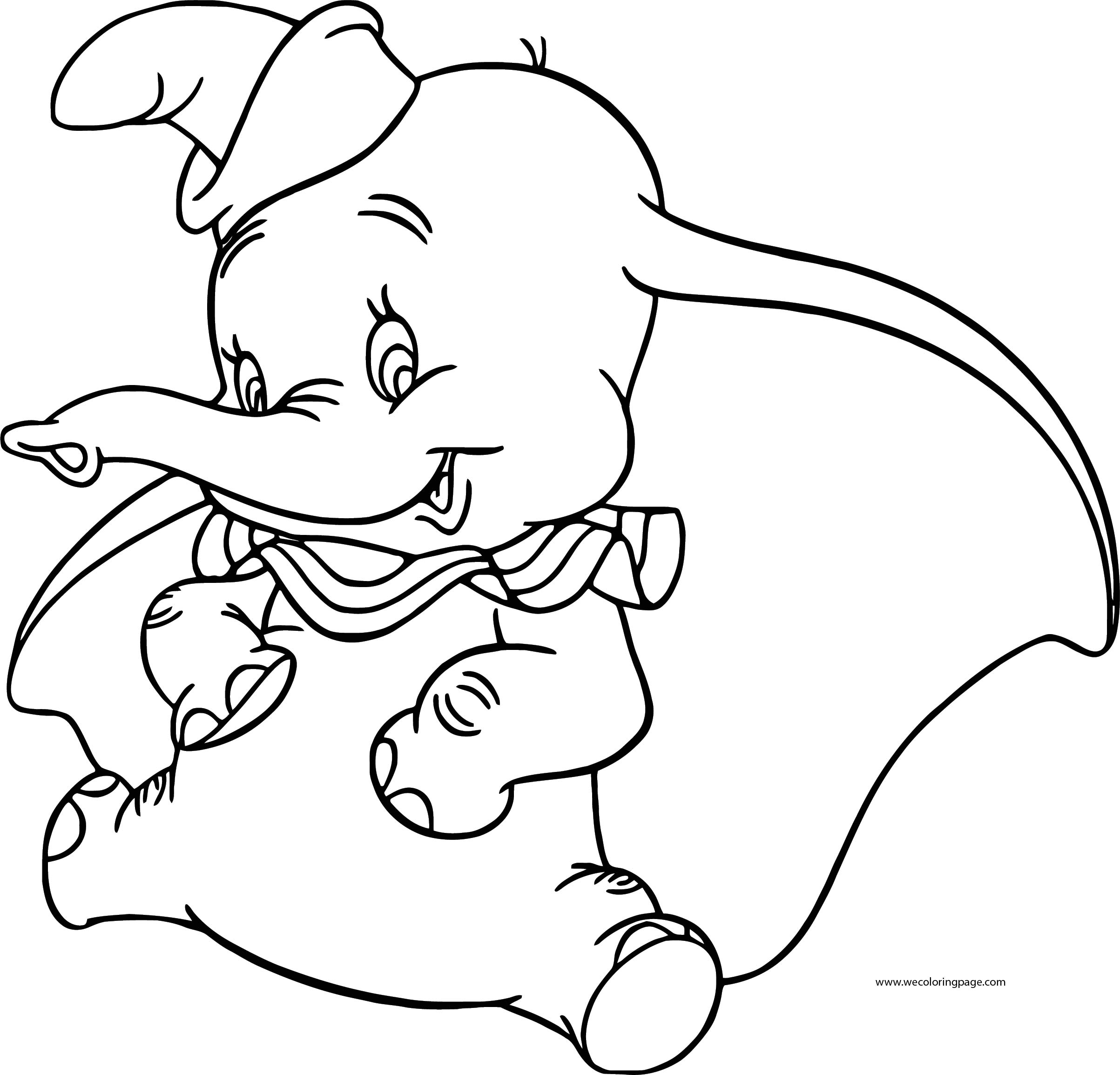 Dumbo Sitting Coloring Pages