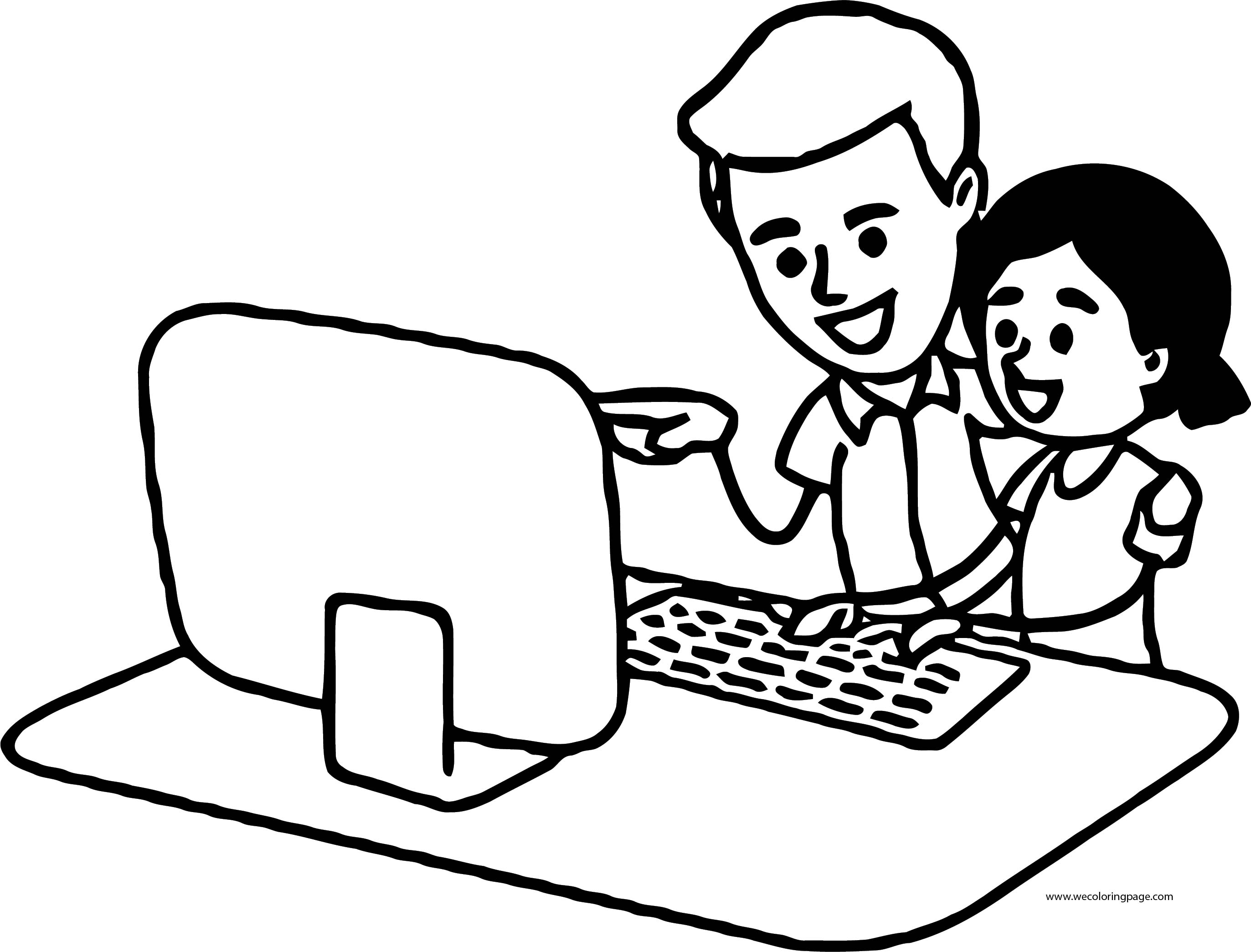 English Teacher Man And Student Girl Computer Coloring Page
