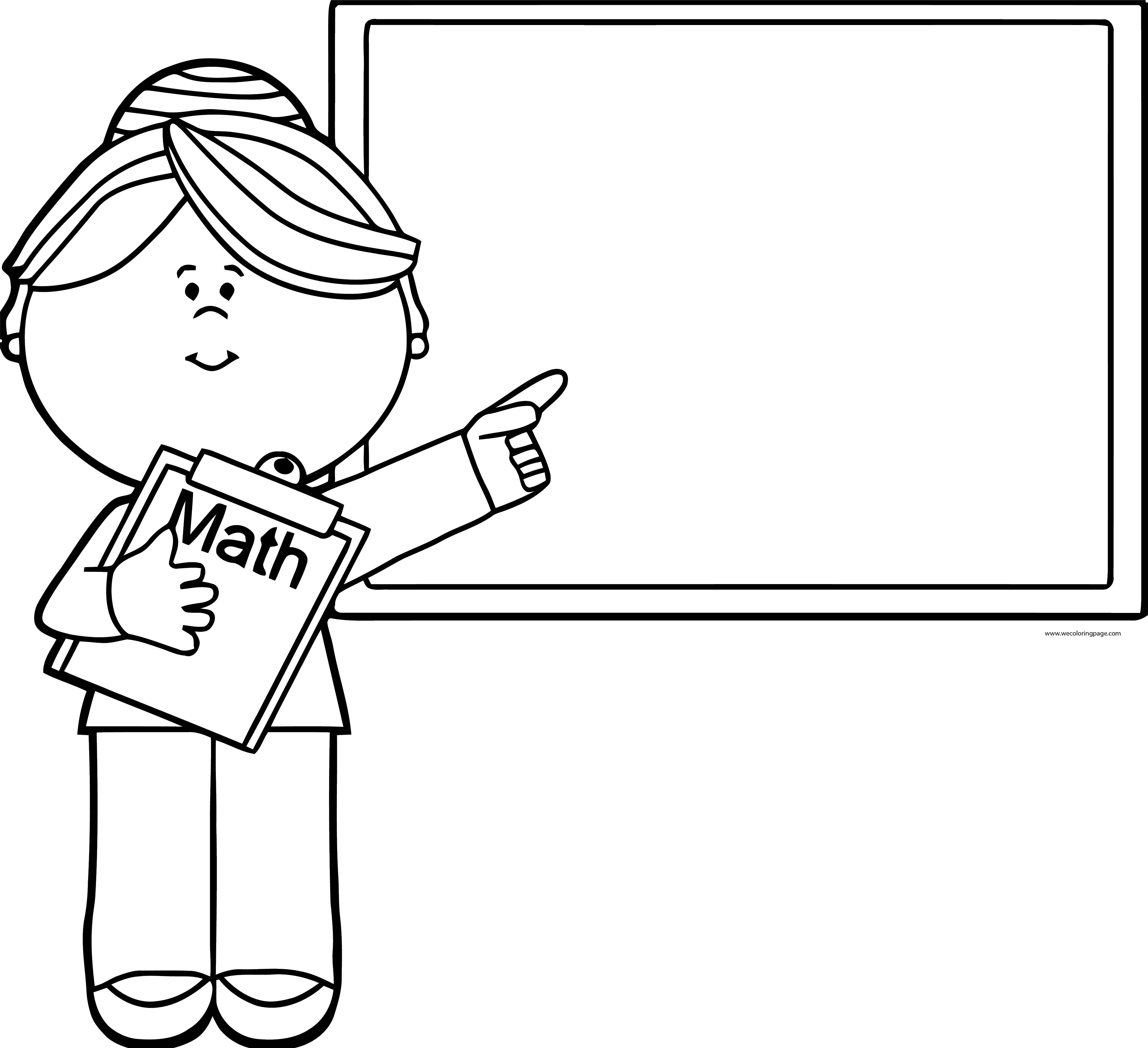 English Teacher Math Board Coloring Page