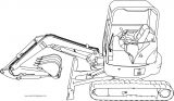 Excavator 4 Mini Excavator Hitachi Ex50u Side Perspective Coloring Page