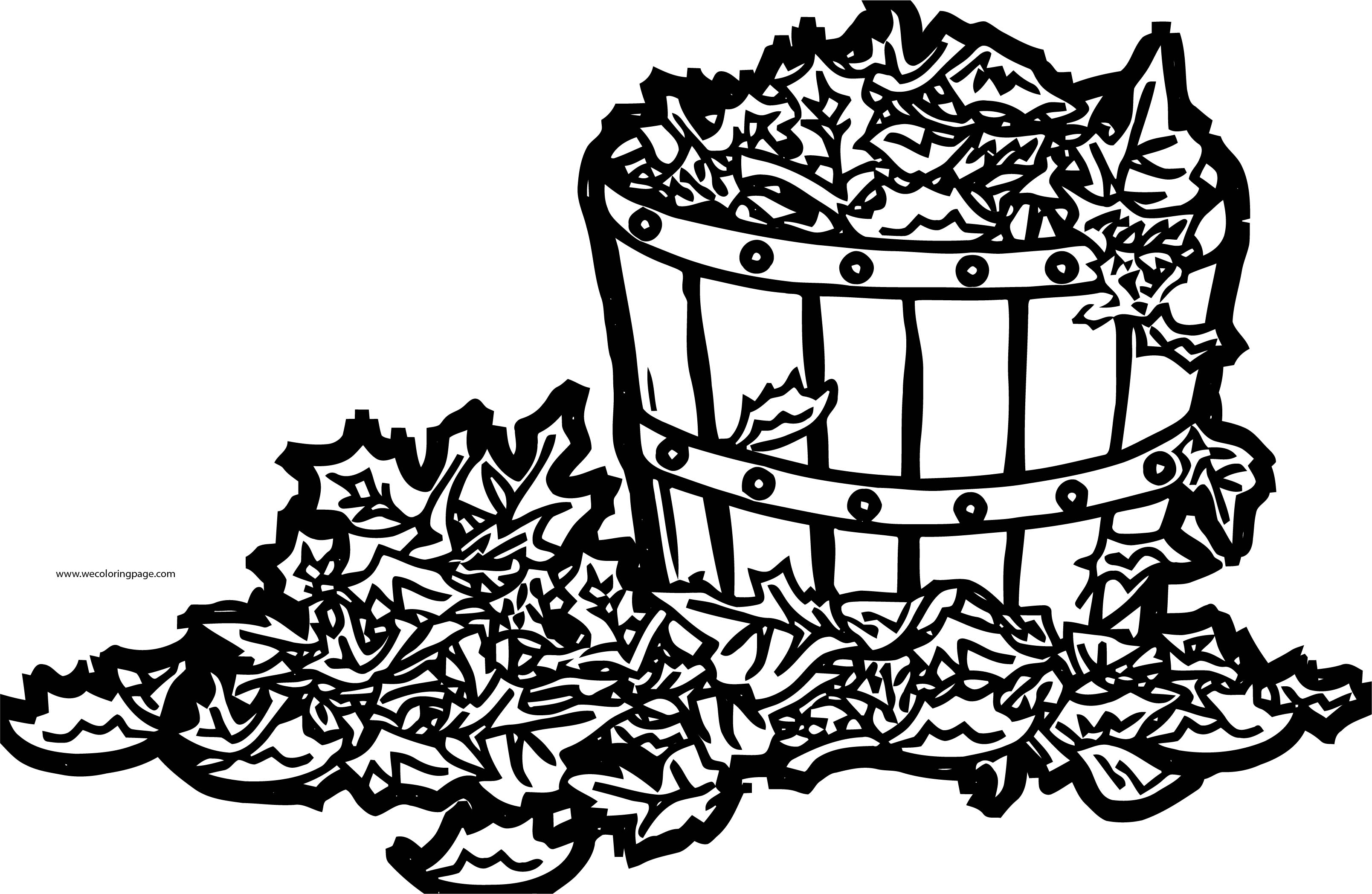 Fall Leaf Bucket Coloring Page