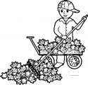 Fall Leaf Cleaner Boy Coloring Page