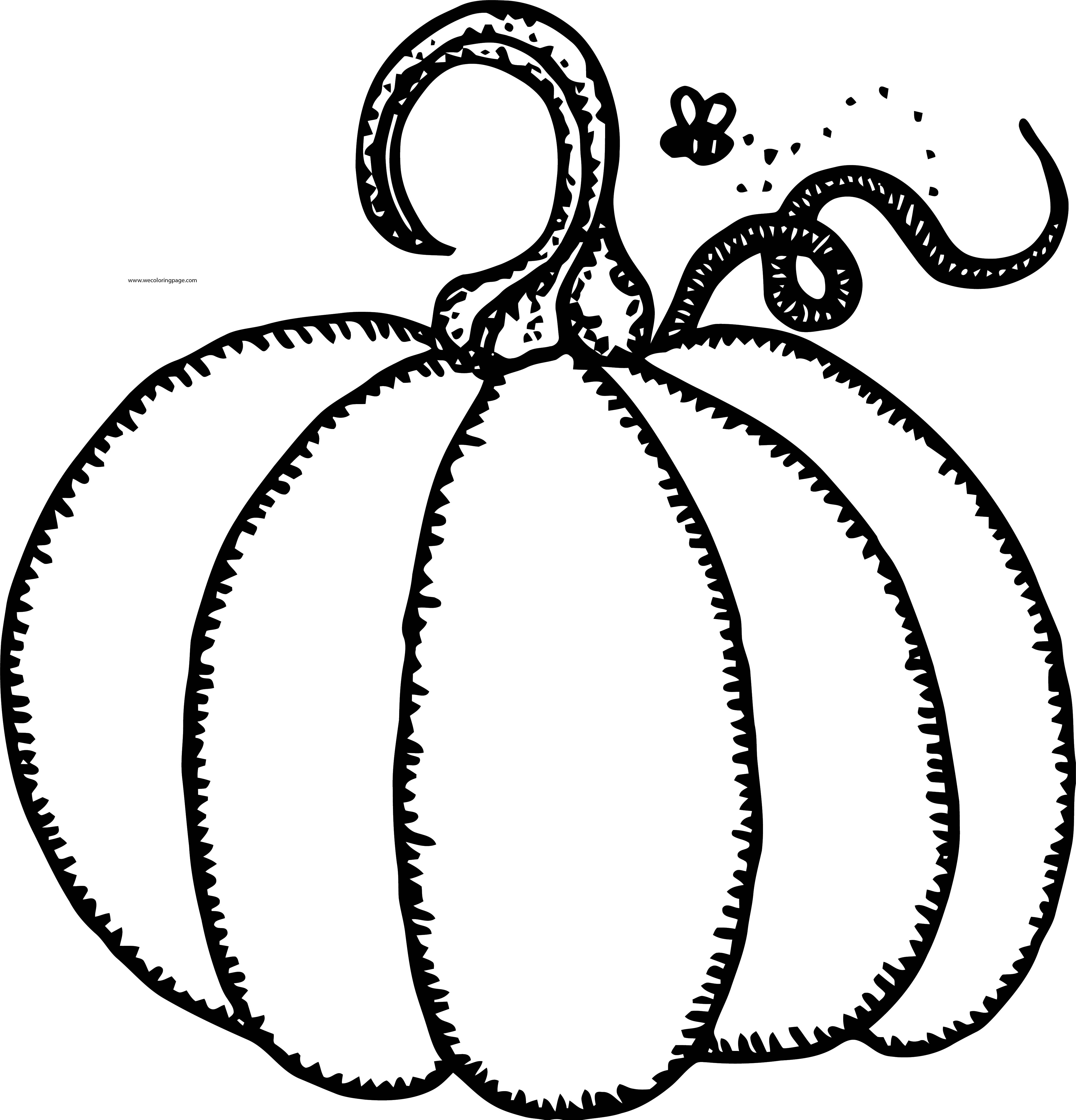 Fall Pumpkin And Bee Coloring Page
