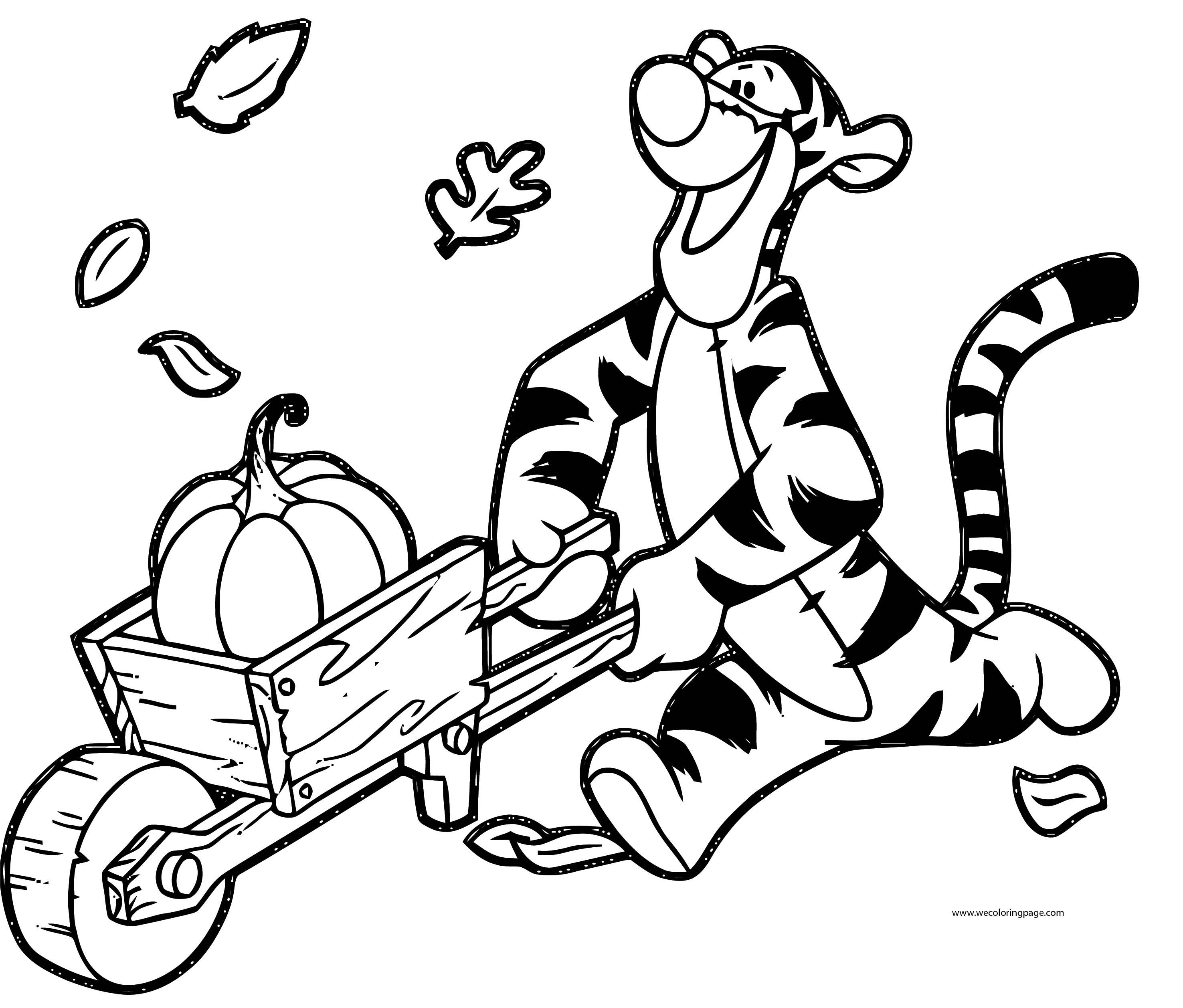 Fall Tigger Carrying Pumpkin Coloring Page | Wecoloringpage.com