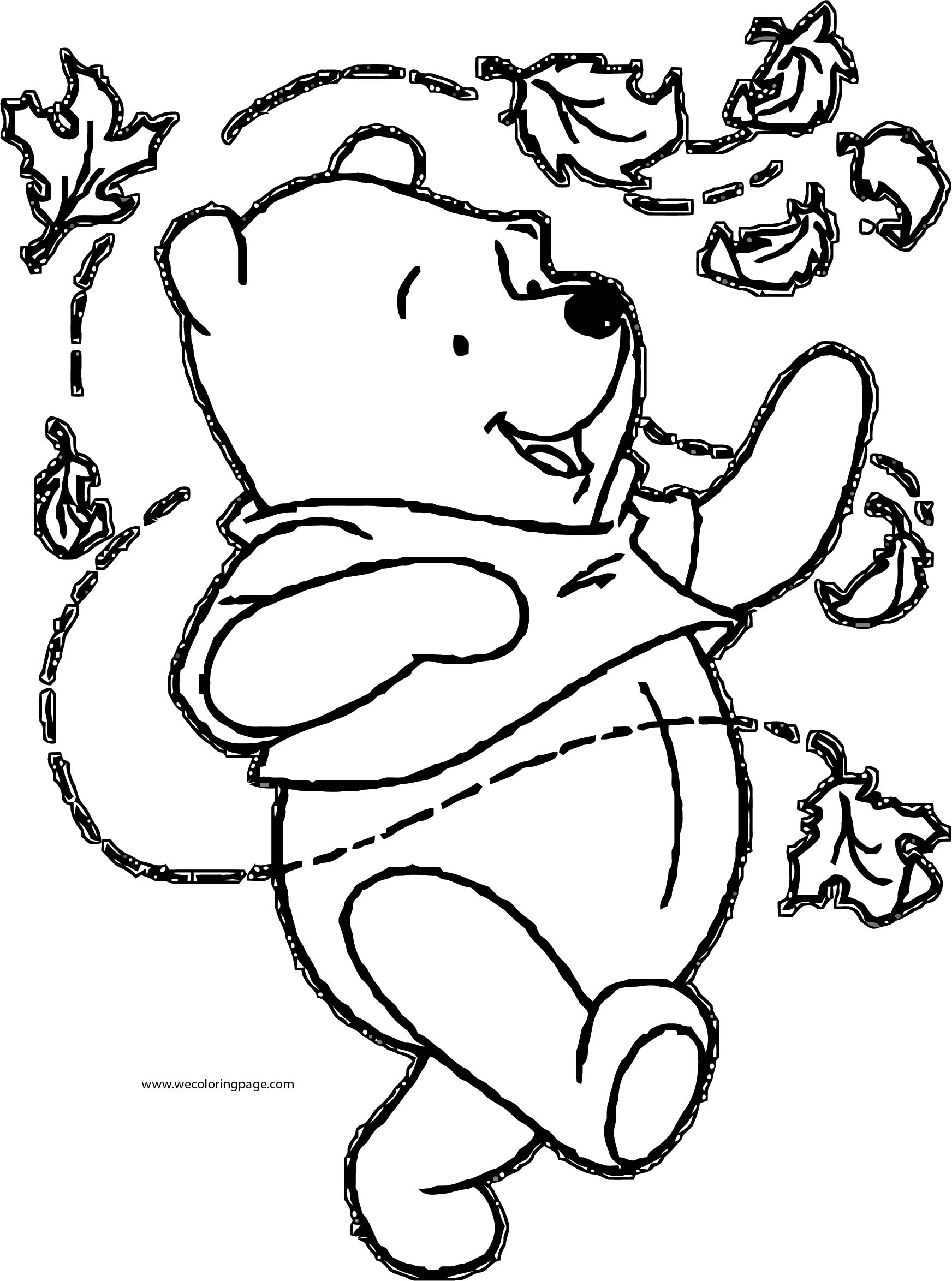 Fall Winnie The Pooh Coloring Page