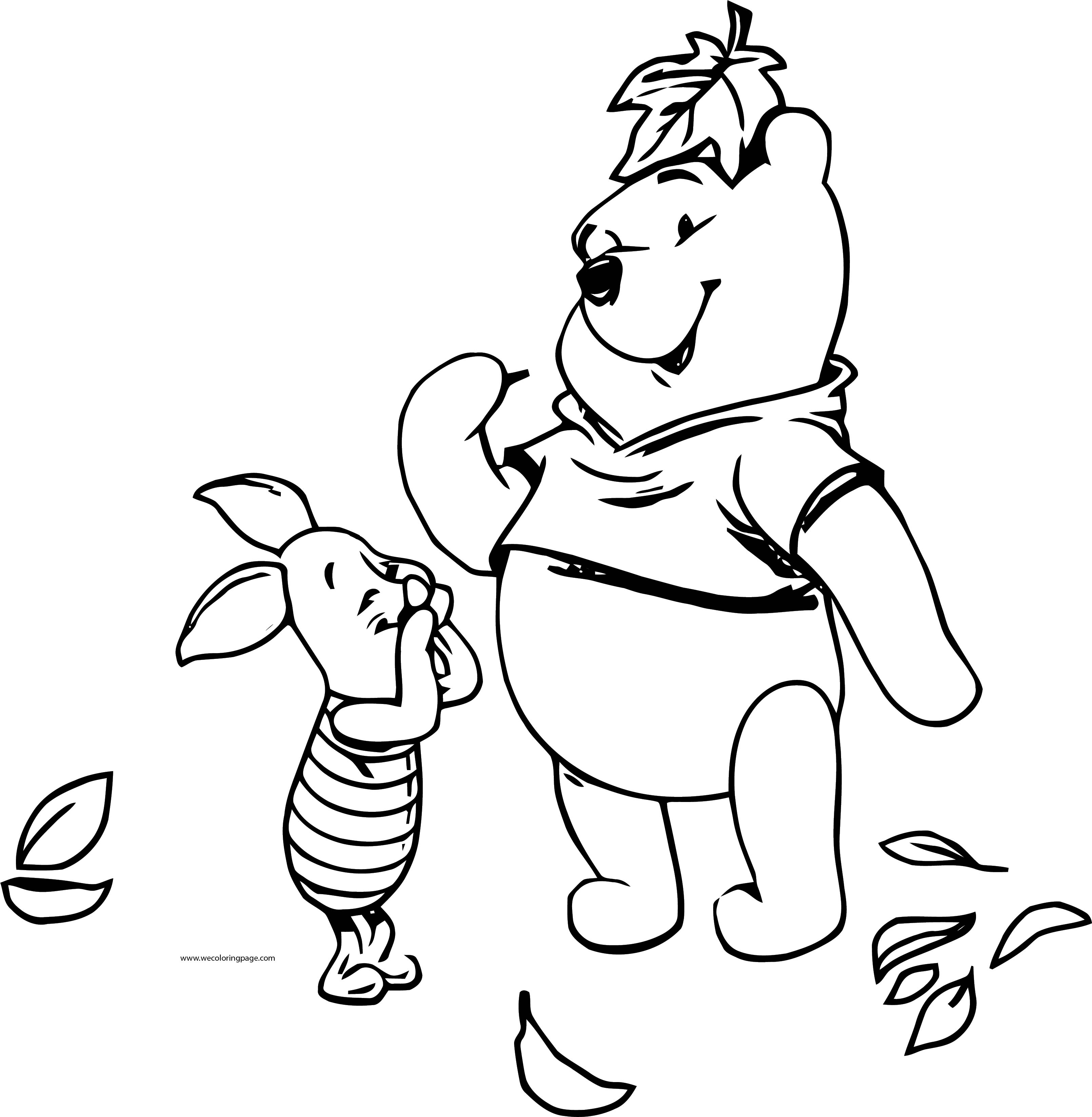 Fall Winnie The Pooh Piglet Coloring Page