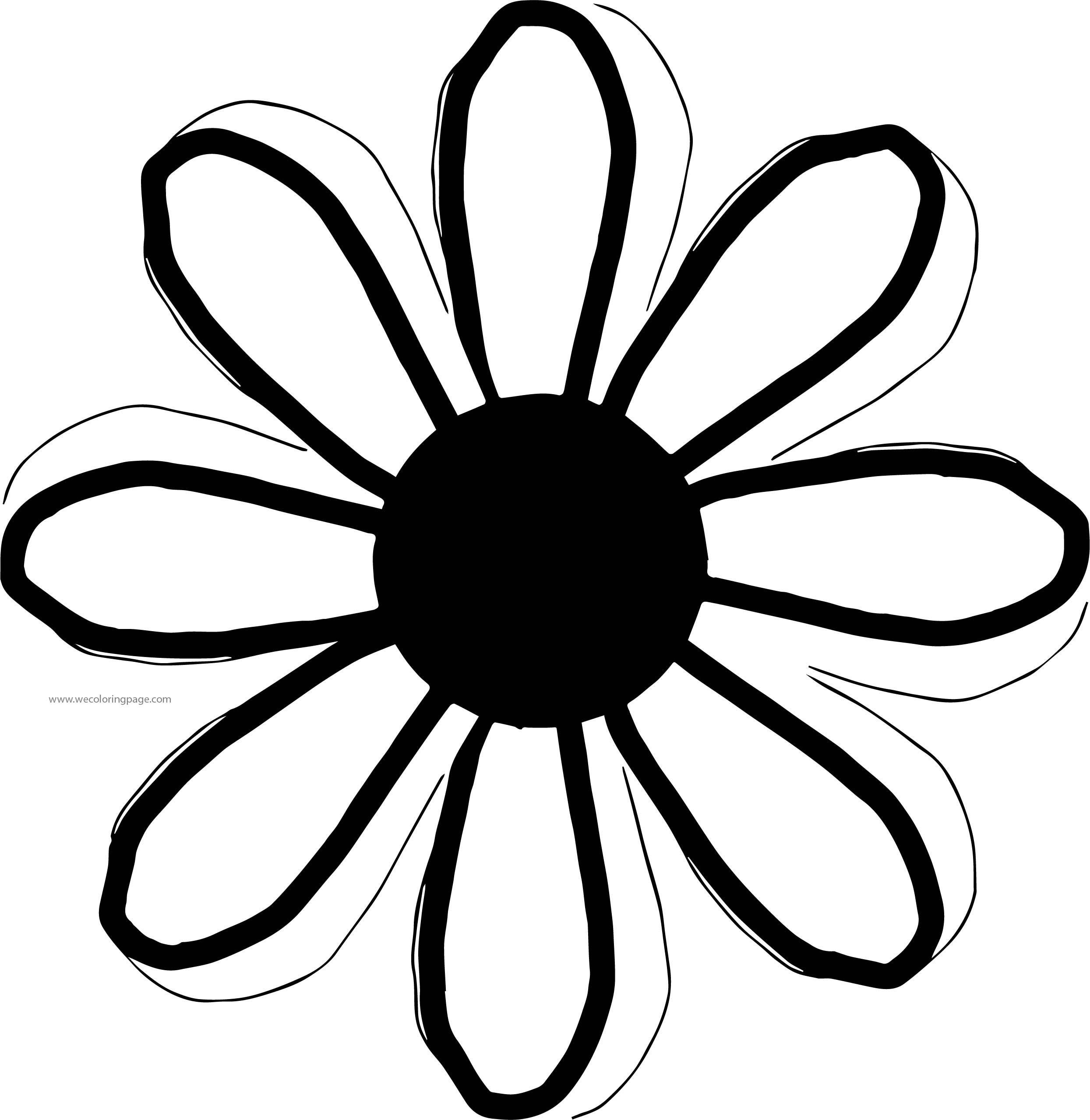 bold line coloring pages | Flower Bold Slim Line Coloring Page | Wecoloringpage.com