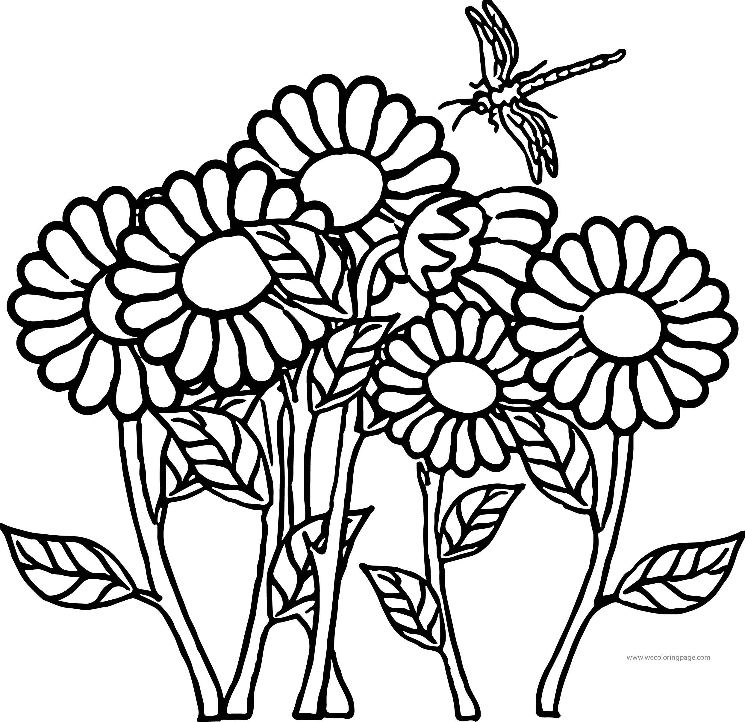 Flower Dragonfly Coloring Page | Wecoloringpage.com