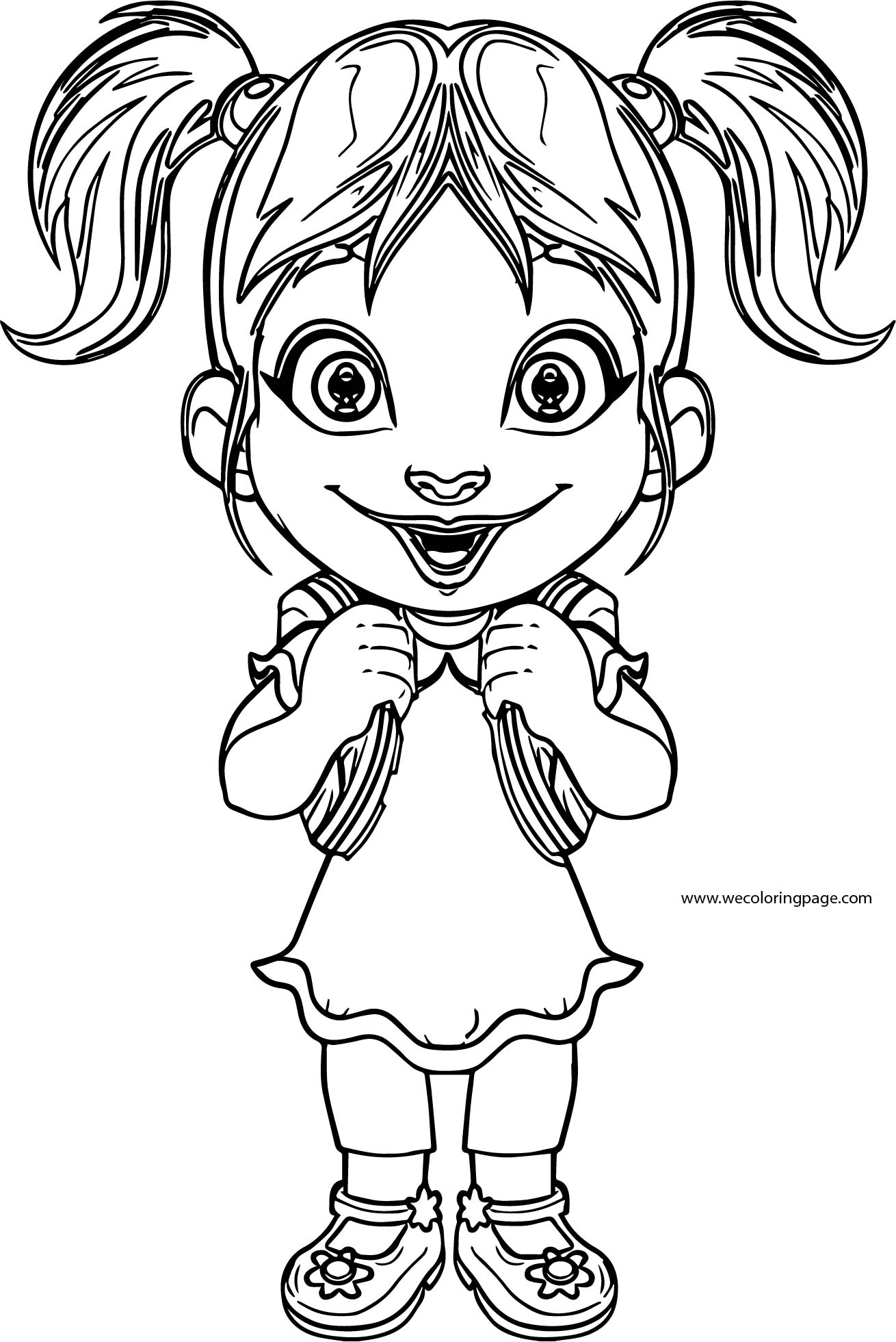 Funny Young Girl Student Coloring Page