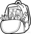 Happy Cartoon School Bag Coloring Page