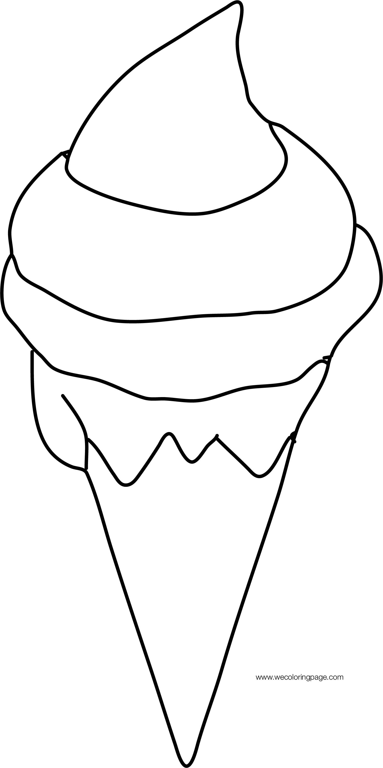 Ice Cream Cornet Cartoon Coloring Page For Kids