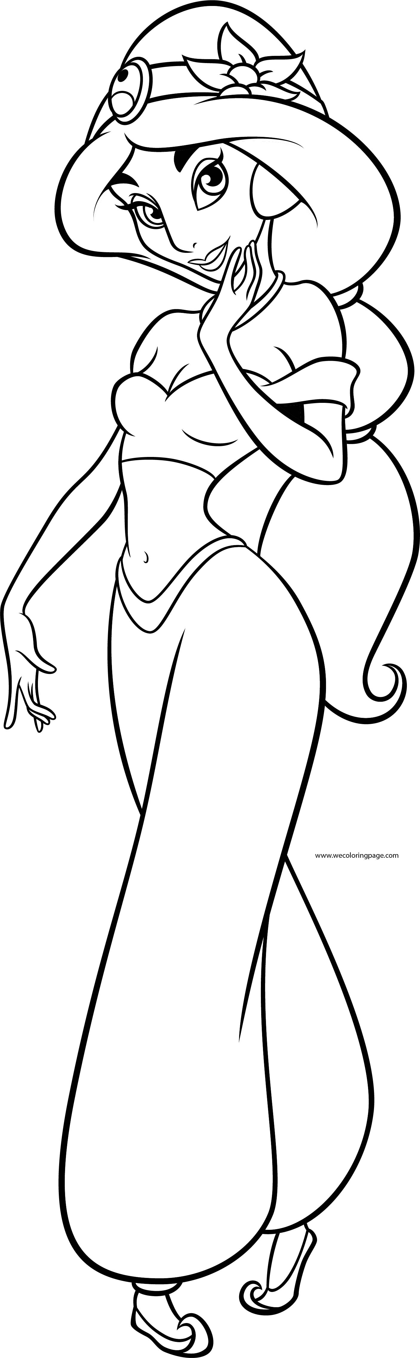 Jasmine Girl Princess Disney Coloring Page