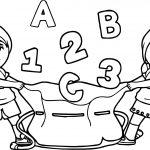 Kids Number Had School Bag Coloring Page