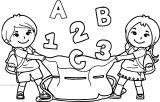 Kids Number Had School Bag Coloring Page