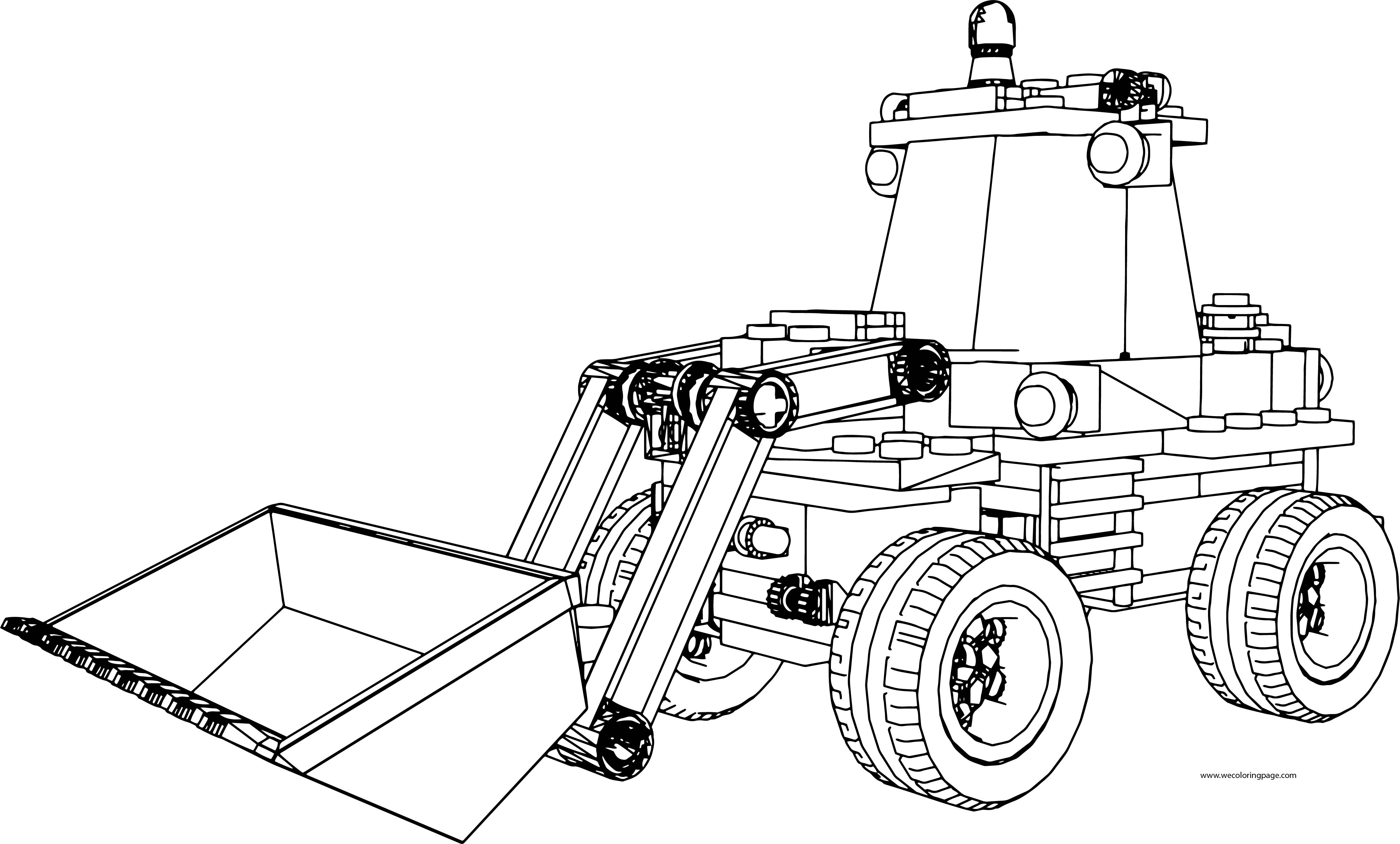 LEGO Excavator Truck Perspective Coloring Page
