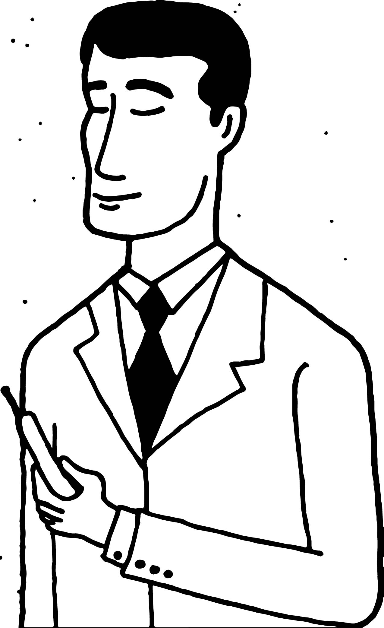 Man Dialing Coloring Page