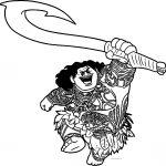 Maui Moana Attack Disney Coloring Page