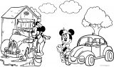 Mickey Minnie Car Coloring Page