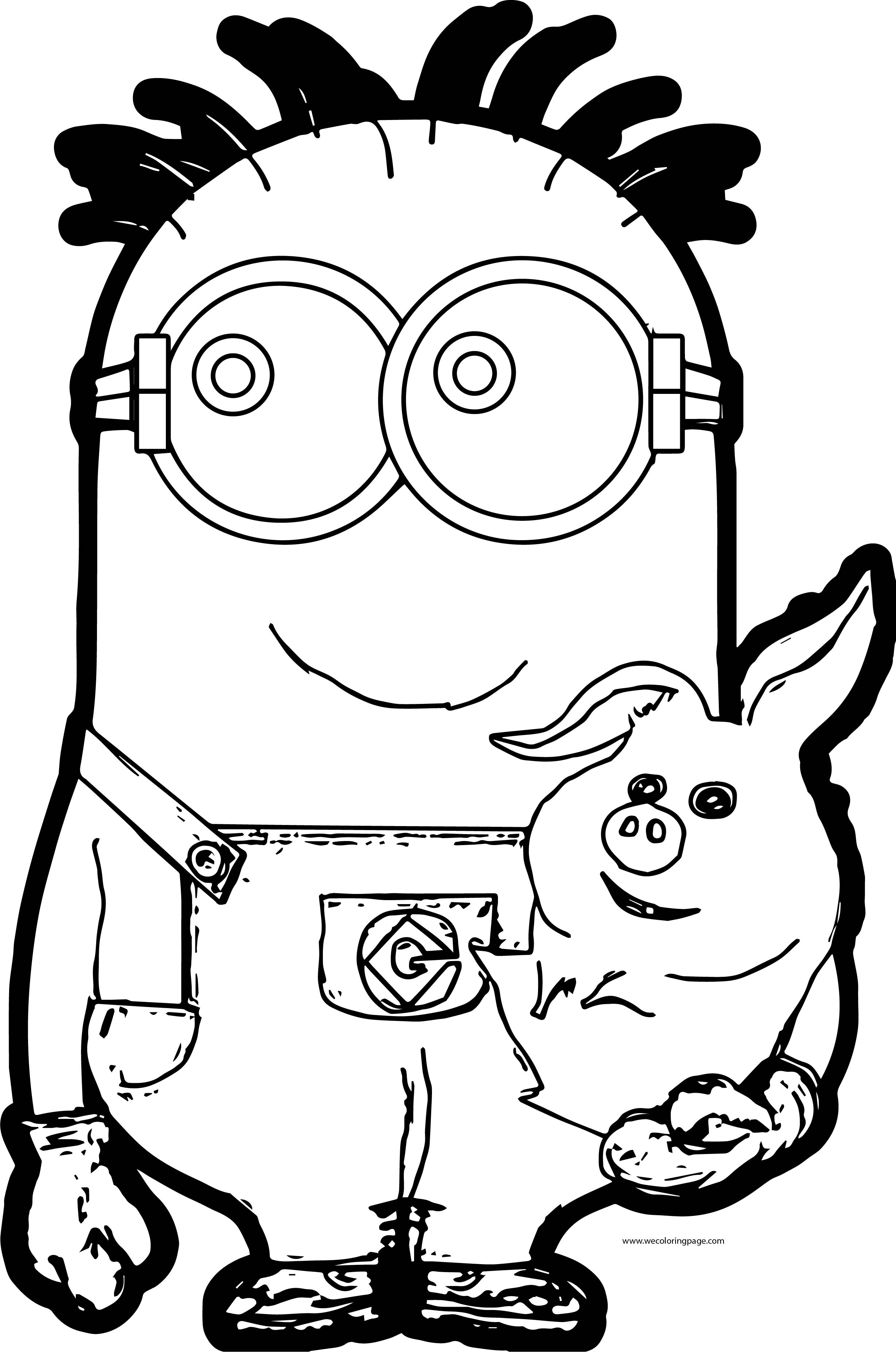 Minion With Piggy Coloring Page