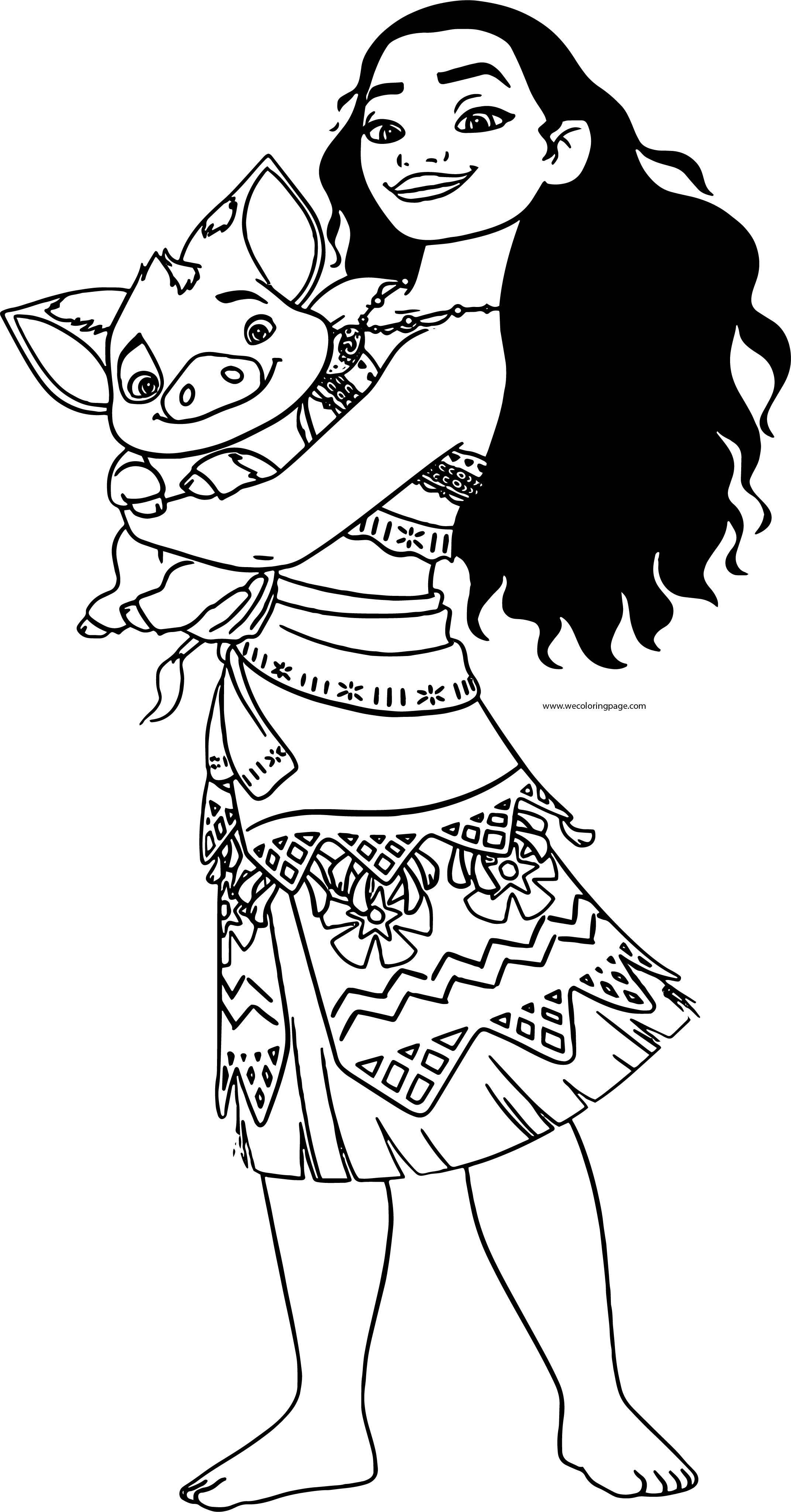 Moana Holding Pua Pig Coloring Page