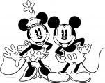 Old Mickey Minnie Mouse Coloring Page 1