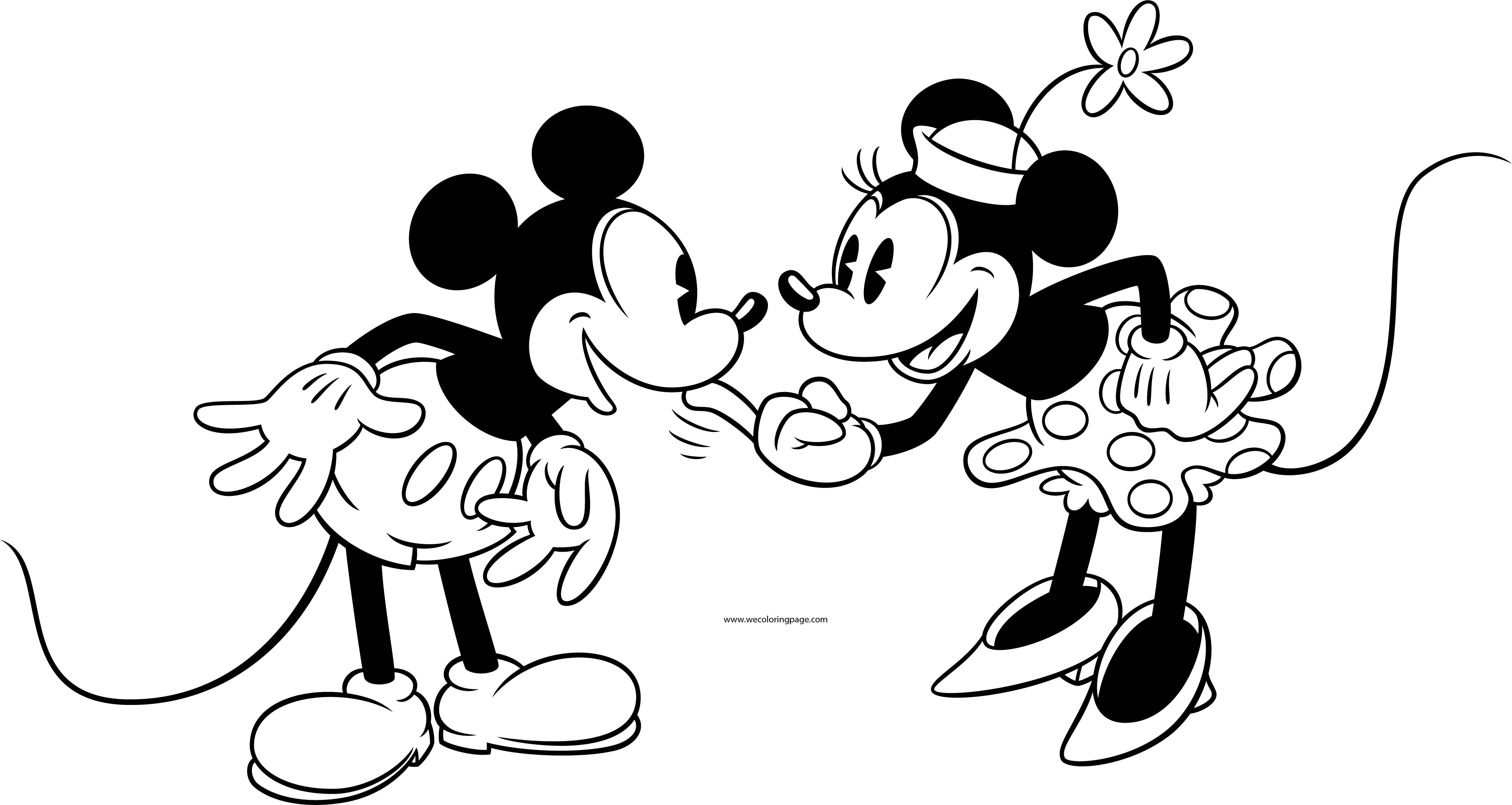 Old Mickey Minnie Mouse Coloring Page 3