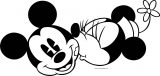 Old Mickey Minnie Mouse Face Kiss Coloring Page