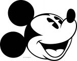 Old Mickey Mouse Face Coloring Page 1