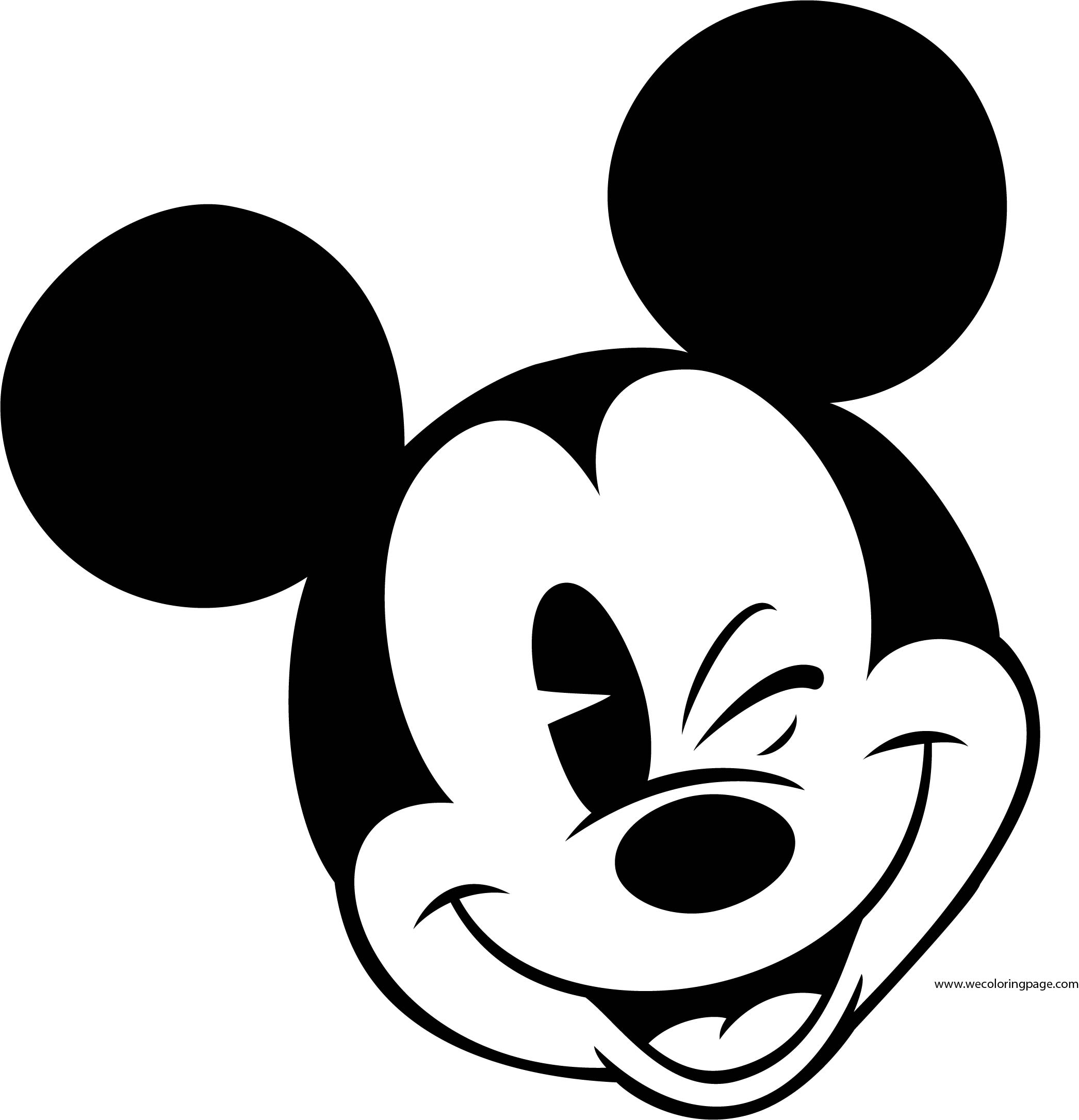 Old Mickey Mouse Face Coloring Page 6