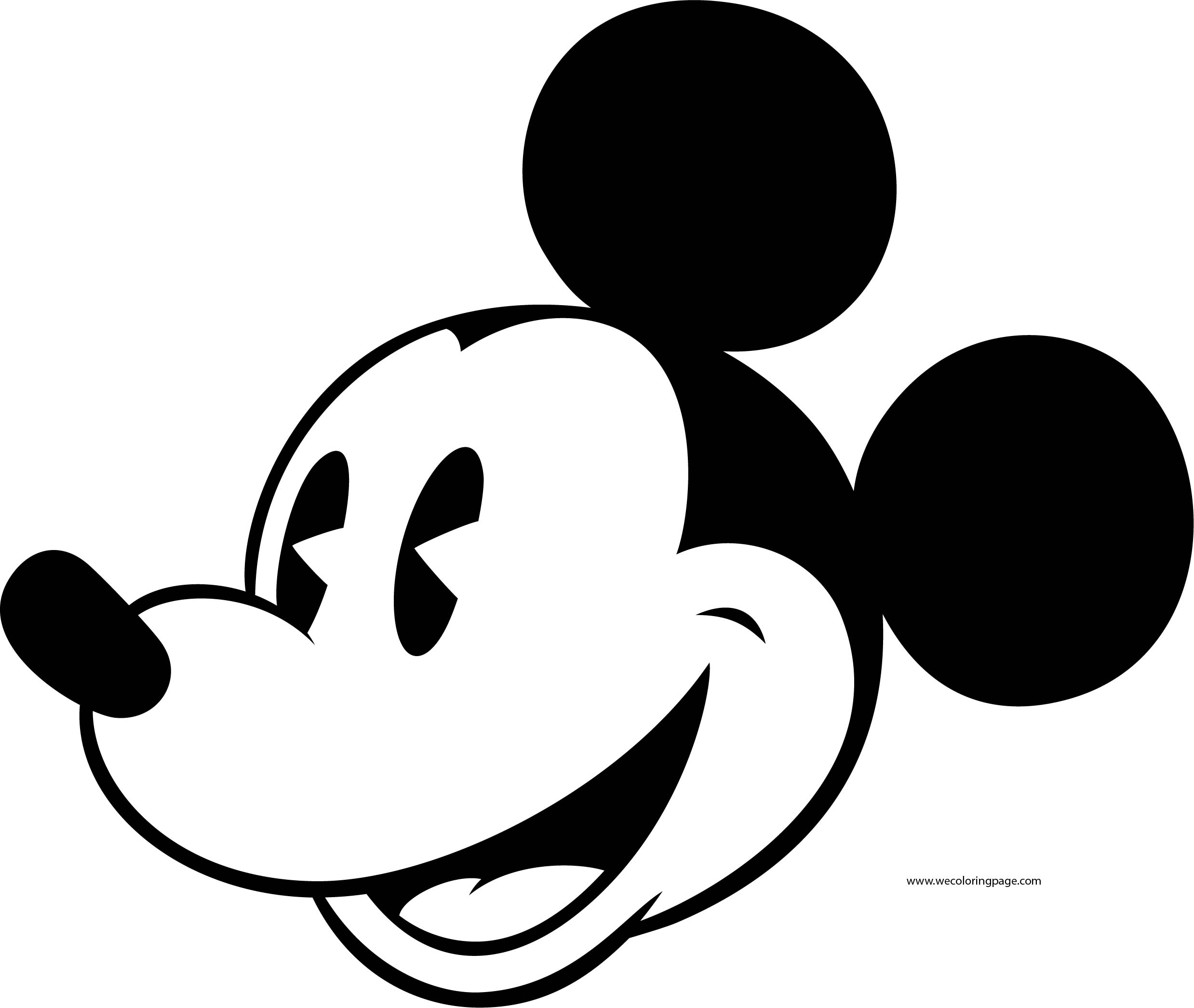 Old Mickey Mouse Face Coloring Page 7 | Wecoloringpage.com