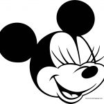 Old Minnie Mouse Close Eyes Face Coloring Page