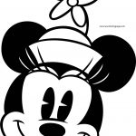 Old Minnie Mouse Happy Face Side Coloring Page