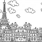 Paris Eiffel City Cute Drawing Coloring Page