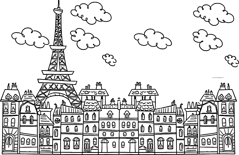 Paris Eiffel City Cute Drawing Coloring Page