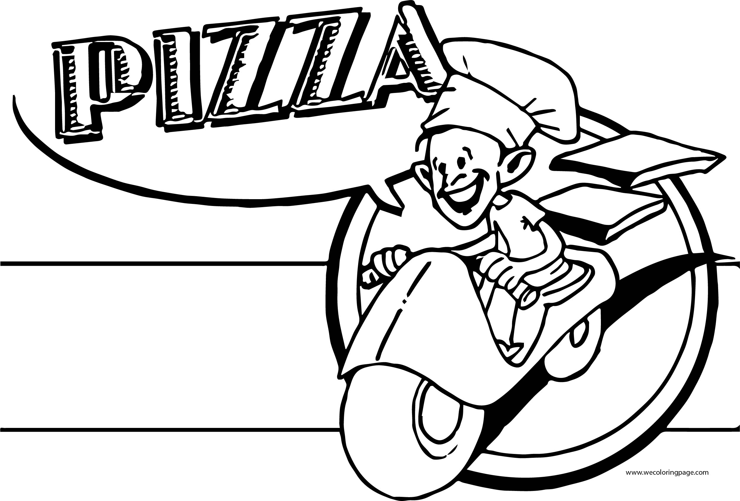 Pizza Bike Man Coloring Page