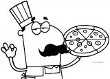 Pizza Pie Illustration Of A Hispanic Chef With A Pizza Pie Coloring Page