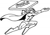 Pizza Super Man Coloring Page