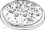 Pizza With Mushrooms Coloring Page