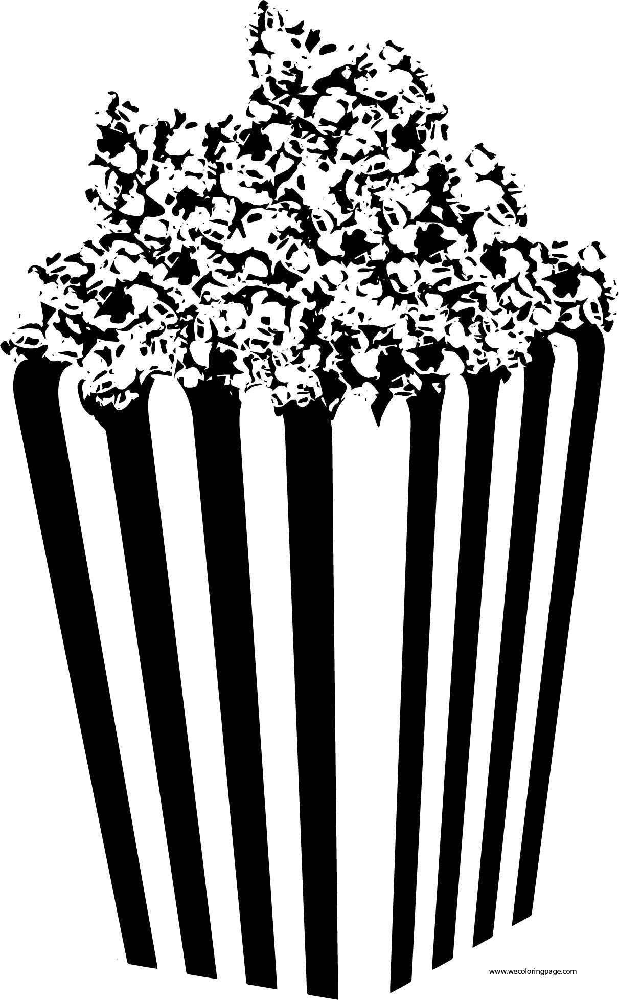 Popcorn Box Black White Coloring Page