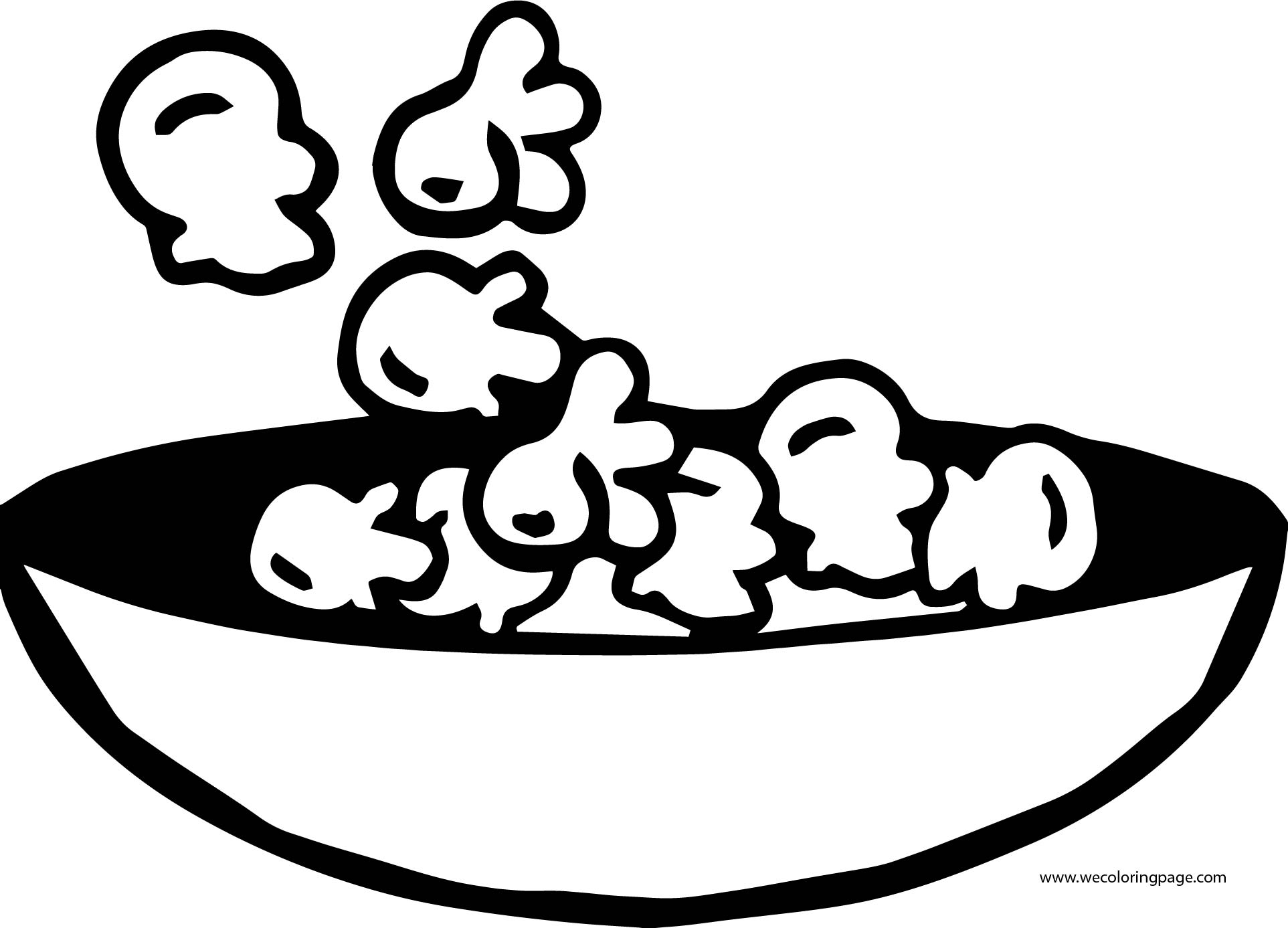 Snack Food Popcorn Coloring Page