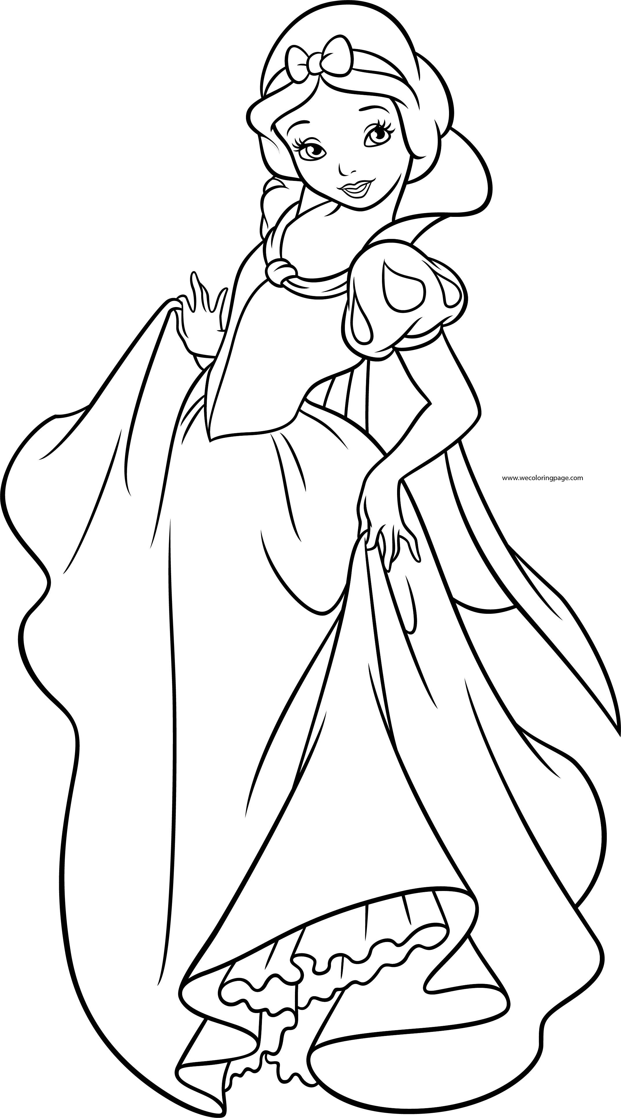 Snow White Girl Princess Dance Coloring Page