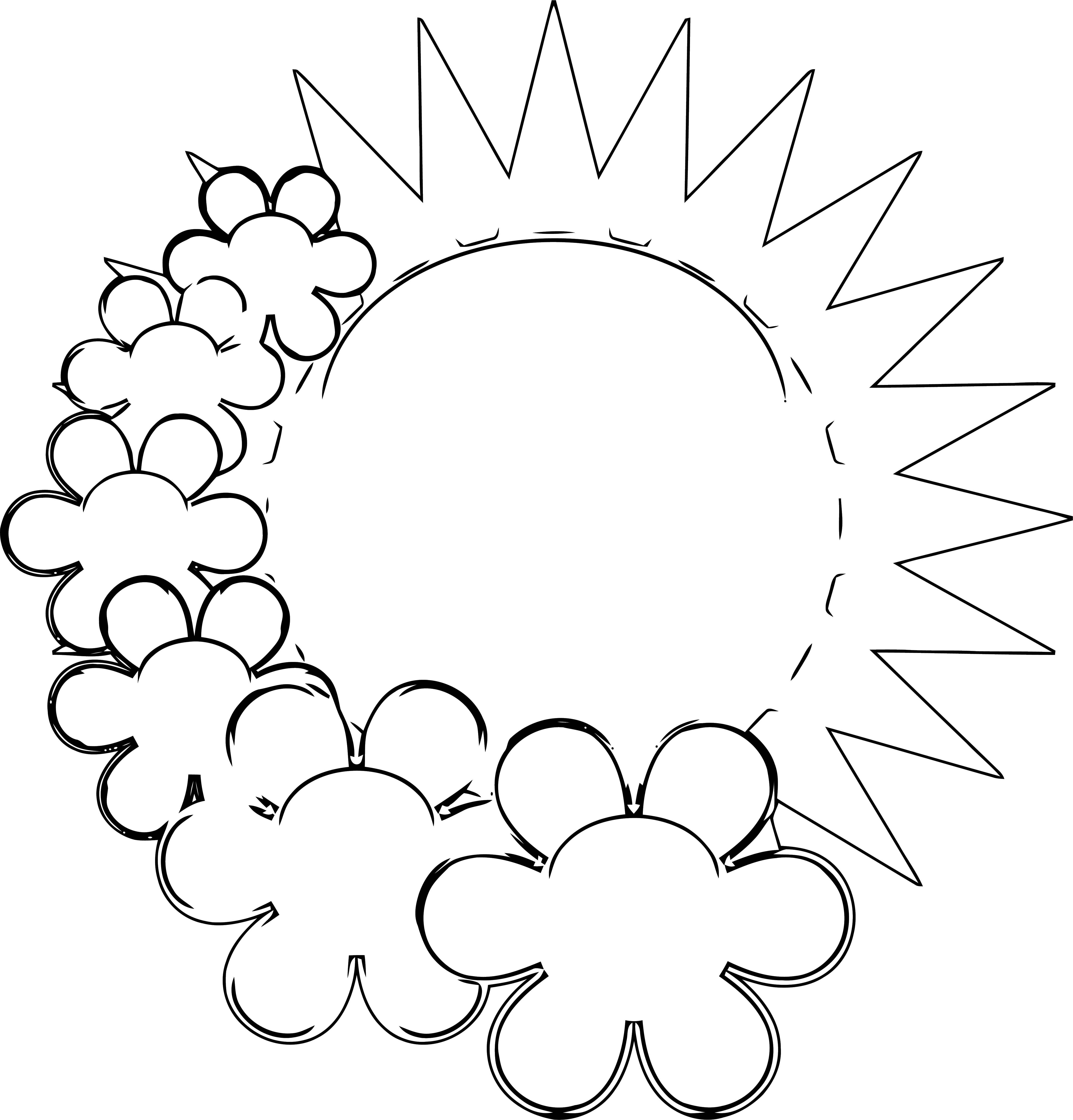 Spring Flower Spring Sun With Flowers Coloring Page Wecoloringpage