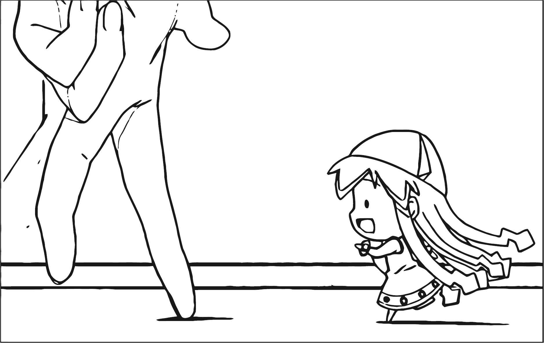 Squid Girl Hand Coloring Page