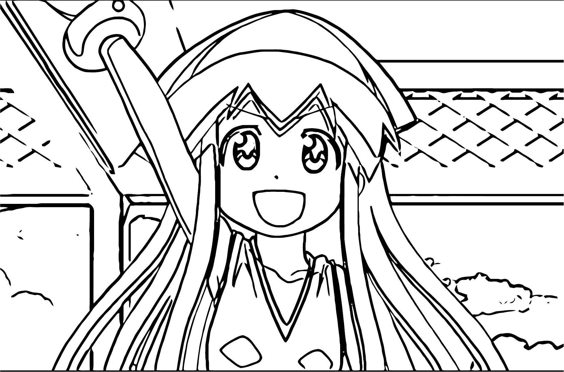 Squid Girl Ika Musume Costume Splatoon Coloring Page