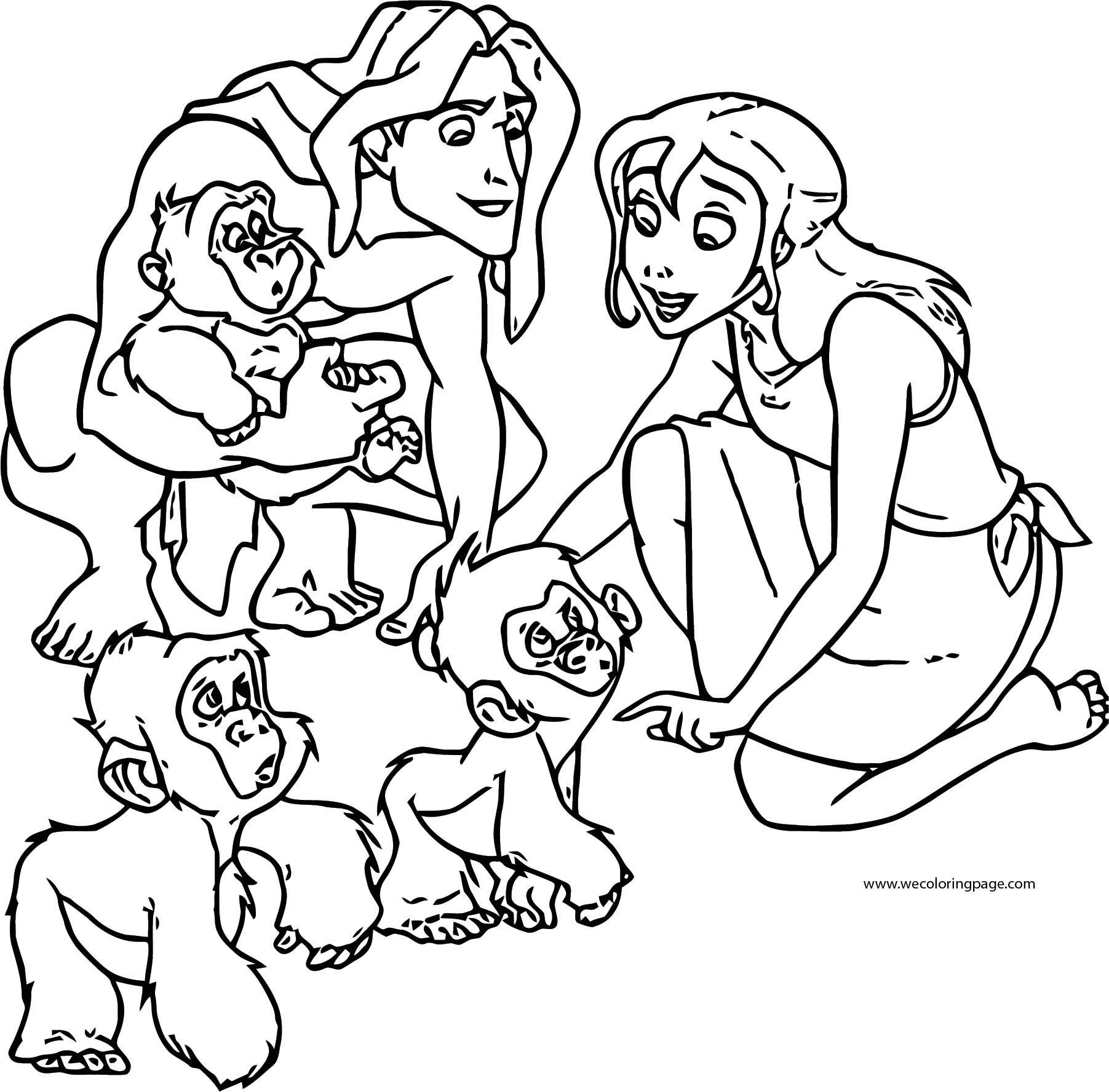 Tarzan And Jane Monkeys Coloring Pages