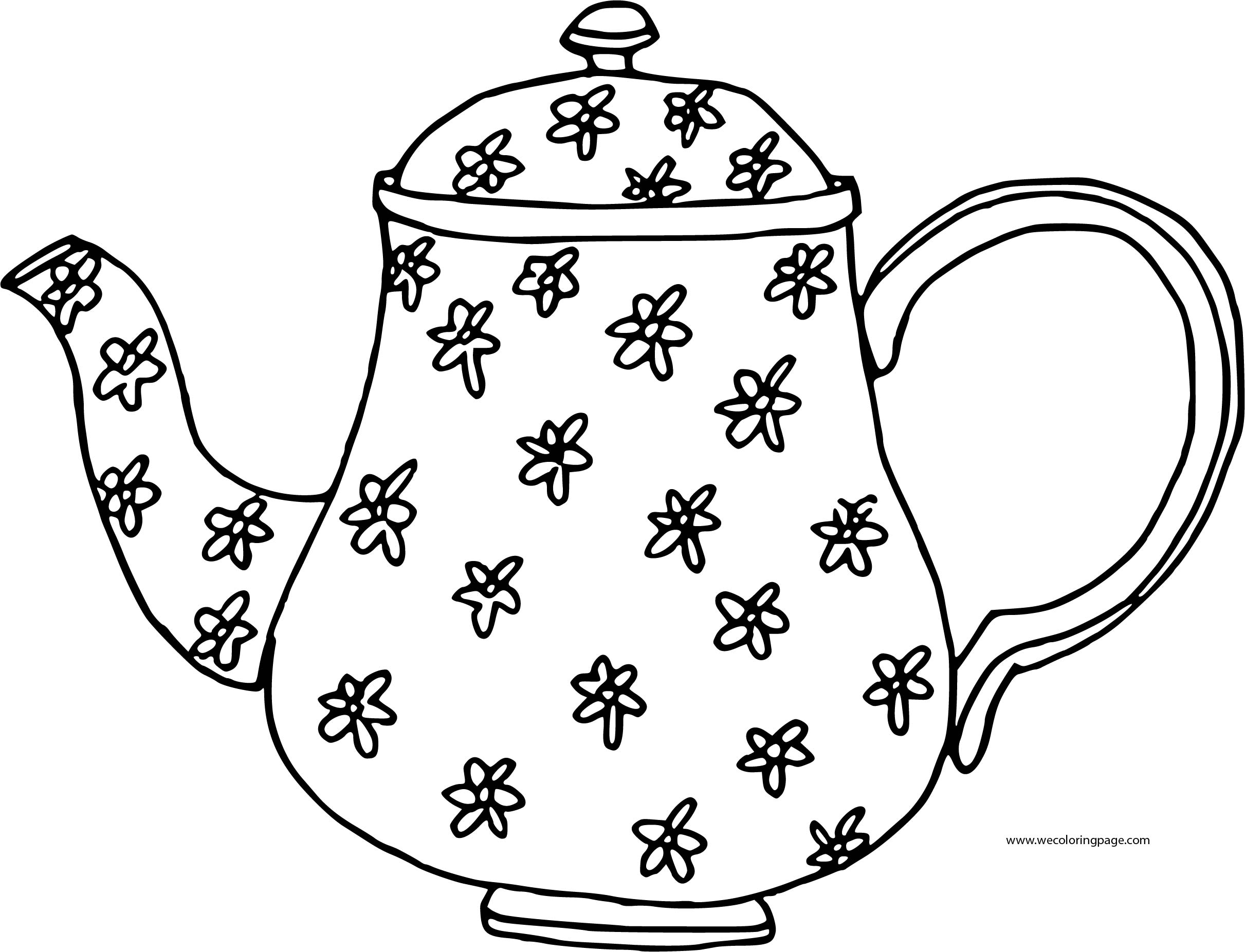Teapot Flower Coloring Page