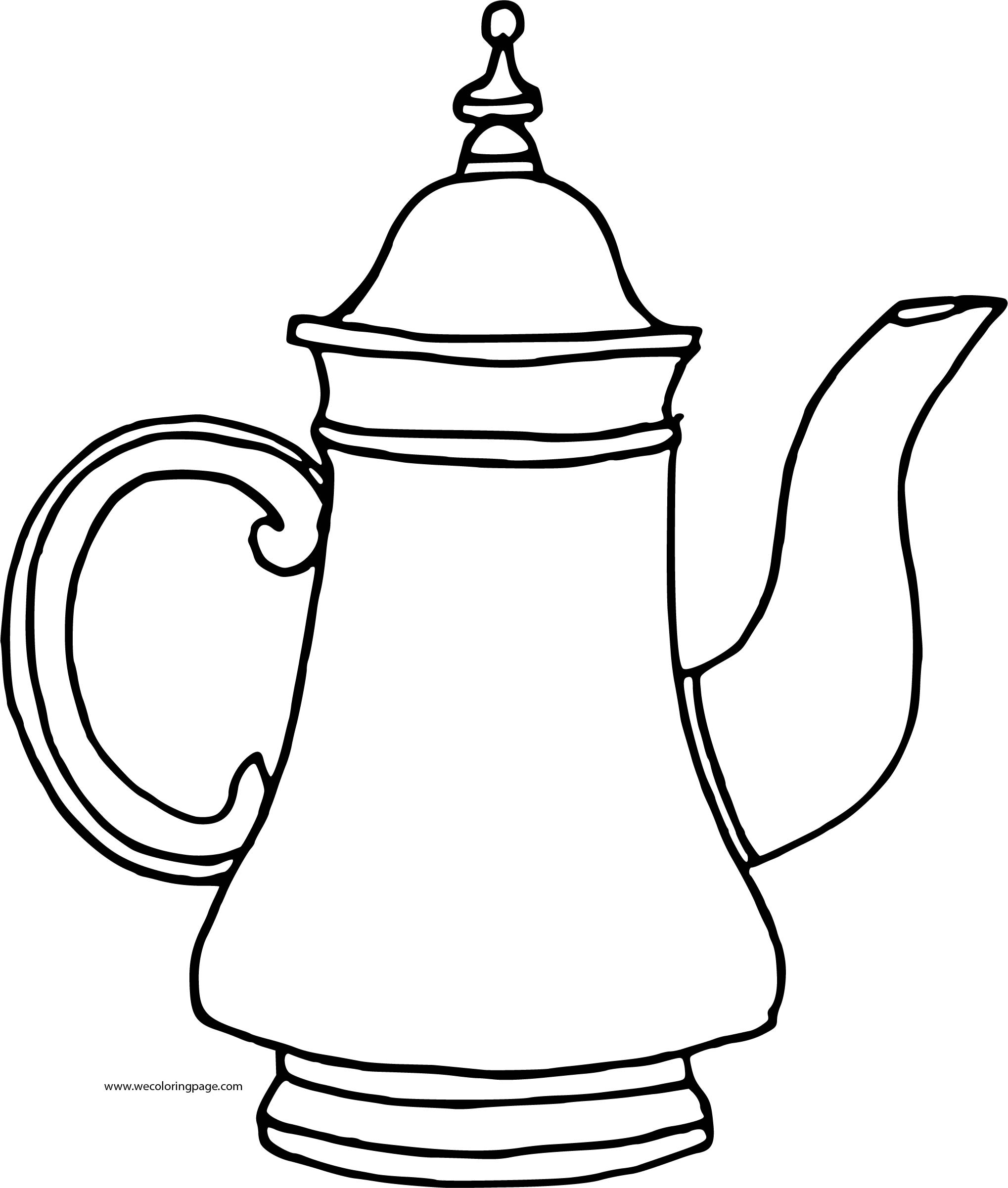 Teapot Tall Coloring Page