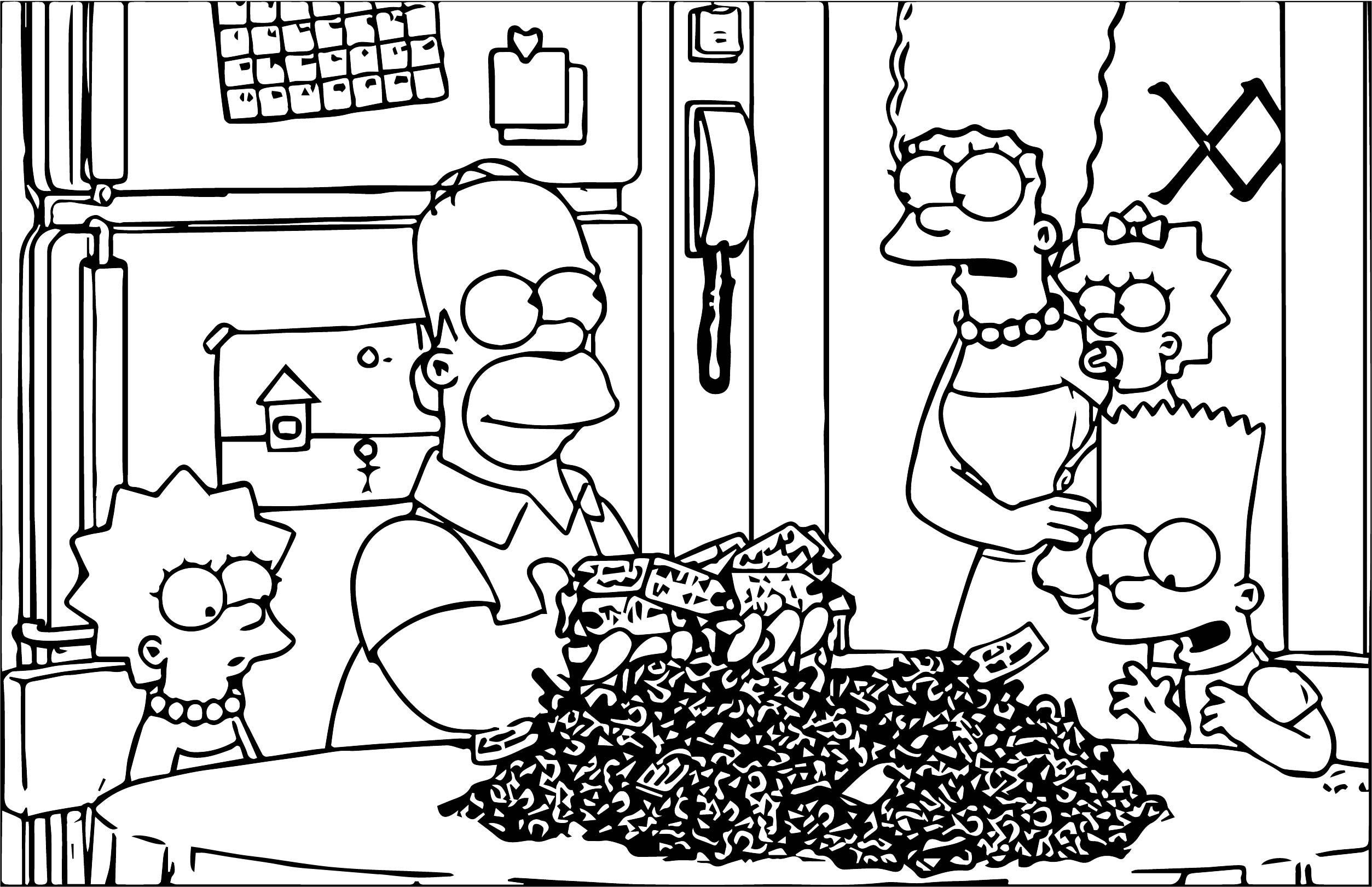 The Simpsons Family Coloring Page 2