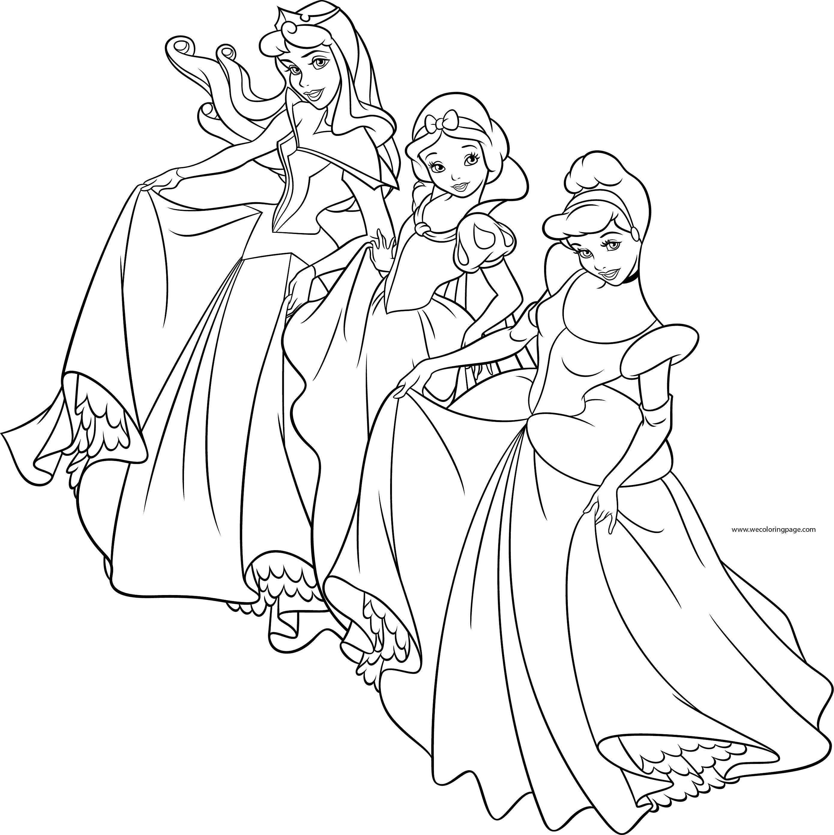 Three Disney Princess Coloring Page